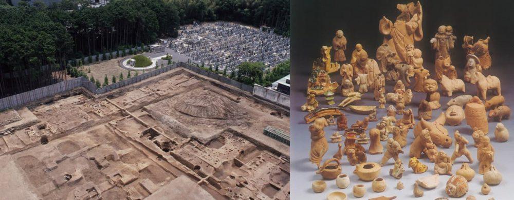 Excavations, Shokokuji Zen-Temple (left) Figures found at the Nijo Residence (right) - Credit: Doshisha University Archaeology Centre