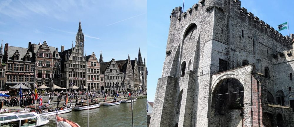 Ghent Medieval Waterfront (left) Castle of the Count, Gravensteen (right) - Credit: Michael Loveday
