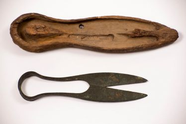 Excavated shears preserved in wooden box - Credit: Vivacity