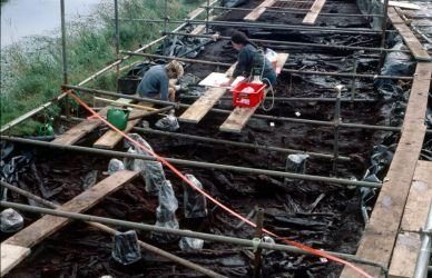 Excavation of waterlogged wooden walkway - Credit: Francis Pryor