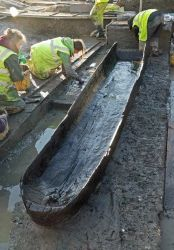Preserved wooden boat - Must Farm - Credit: Cambridge Archaeological Unit