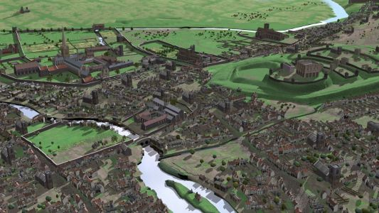 Reconstruction of medieval Norwich, including the fortified castle mound and cathedral precinct - Credit: Virtual Past